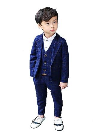 a3c0926984d14 男の子 スーツ 5点セット 子供服 男の子 フォーマル スーツセット グレー チェック柄  ジャケット