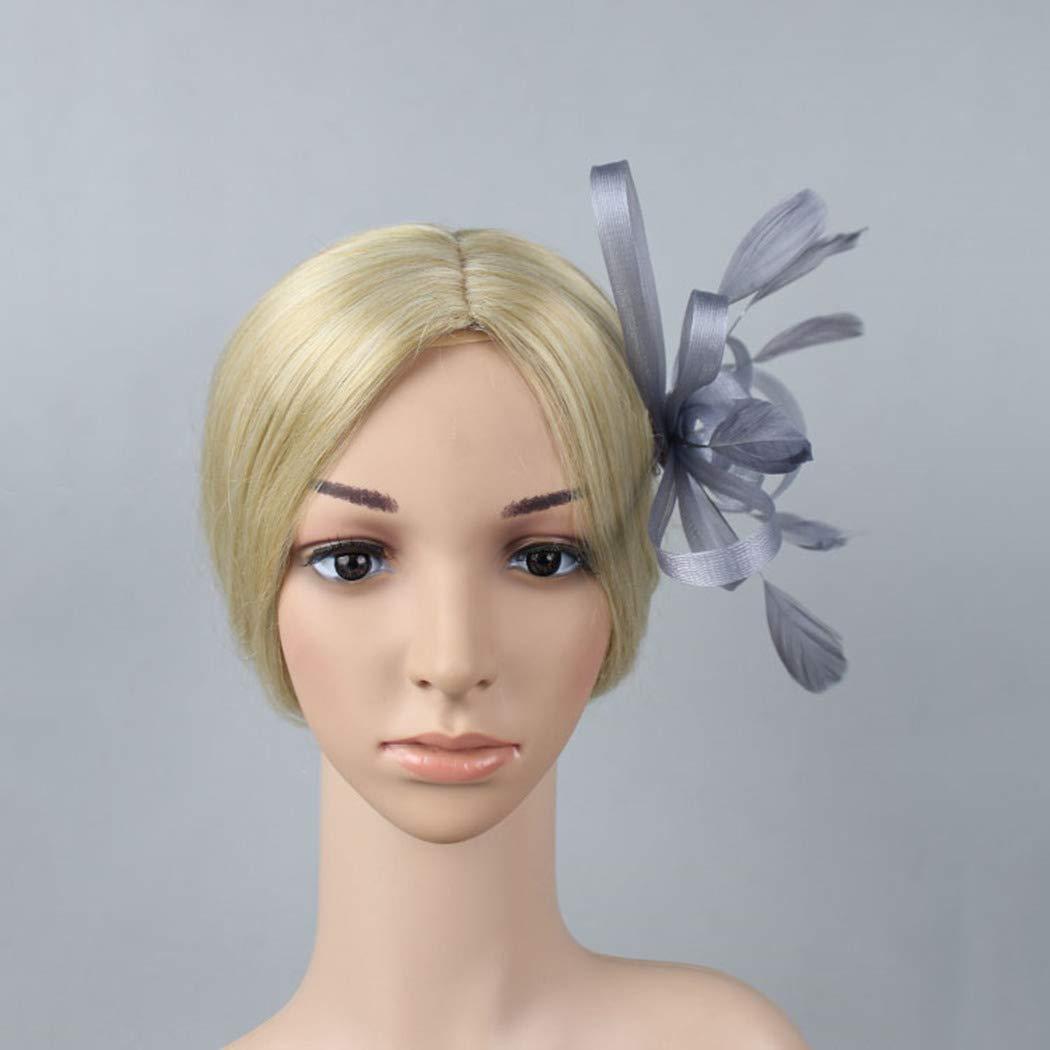 dressfan chapeau de fleur accessoire de cheveux coiffe femme chapeau de mari/ée Fascinator ruban plume pince /à cheveux pour le banquet de mariage f/ête avec fleur