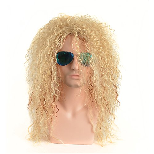 BERON 21'' Long Curly Wavy Wig for 80s Male Punk Rock Style Wig Halloween Cosplay Wig for Daily Use Synthetic Wigs (Blonde Mix Brown)]()