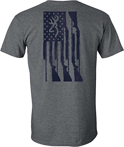 Browning Men's Rifle Flag Short Sleeve T-Shirt - Dark Heather, XXL from Browning