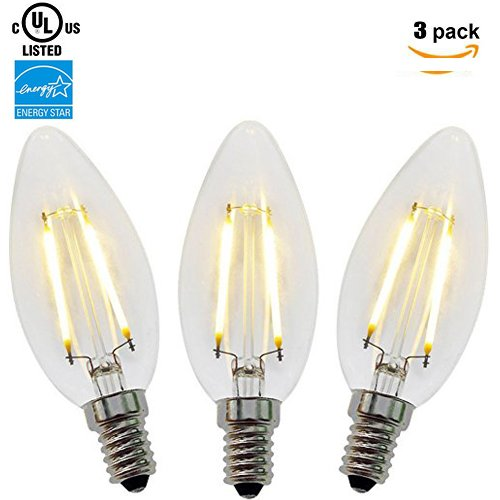 Price comparison product image ZZ Lighting 2W LED Filament Torpedo Tip Candle Light Bulb 20W Incandescent Bulb Equivalent 2700K 160LM E12 Base(2W, 3Pack)
