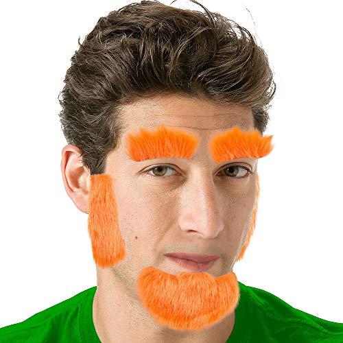 Amscan St. Patricks Day Novelty Orange Facial Hair Set | Party Costume