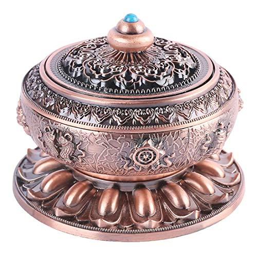 Singeek Copper Alloy Incense Burner Holder for Sticks, Cones Or Coils Incense (Red ()
