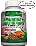 Cheap FOOD BASED Daily Liquid Filled Multivitamin Supplement Capsules For Men Women Seniors With 42 Fruits Vegetables Blend, 21 Essential Vitamins Minerals, Boosts Immune System And Energy. Easy To Swallow