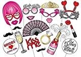 Veewon 22pcs Photo Booth Props for Bachelorette Party,Wig, Beard, Masks, Folding and other Accessories