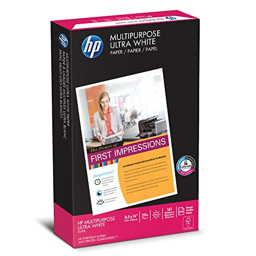 (HP Printer Paper, Multipurpose20, 8.5 x 14, Legal, 20lb, 96 Bright, 500 Sheets / 1 Ream (001420) Made In The USA)