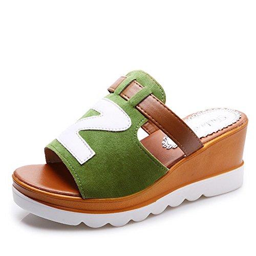 WHLShoes Sandalias y chanclas para mujer Señoras' Pendiente Con Arrastre Fresco Verano Tipo Casual Pu Anti Resbaladiza Pendiente Transpirable Talón green