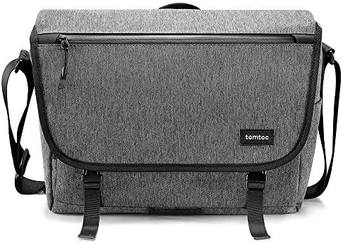 tomtoc Laptop Shoulder Bag, Messenger Bag Multi-Functional Travel Bag Fits Up to 13.5 Inch Laptop with RFID Pocket, 13 Inch MacBook Pro Air, Dell XPS 13, Surface Book 2, Ultrabooks, Chromebooks, Gray