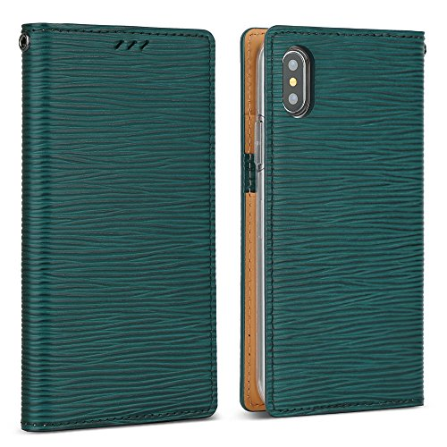 DesignSkin iPhone Xs Flip Folio Wallet Case: 100% Leather That is Genuine Cowhide w/Card Slot & Cash Pocket for Apple iPhoneX & XS - Epi Green