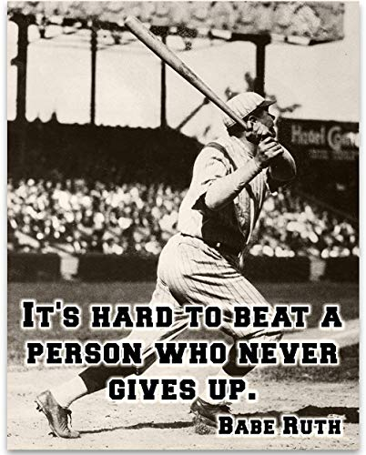 Quote Kids Baseball - Babe Ruth - It's Hard - 11x14 Unframed Art Print - Great Boy's/Girl's Room Decor and Gift for Baseball Fans
