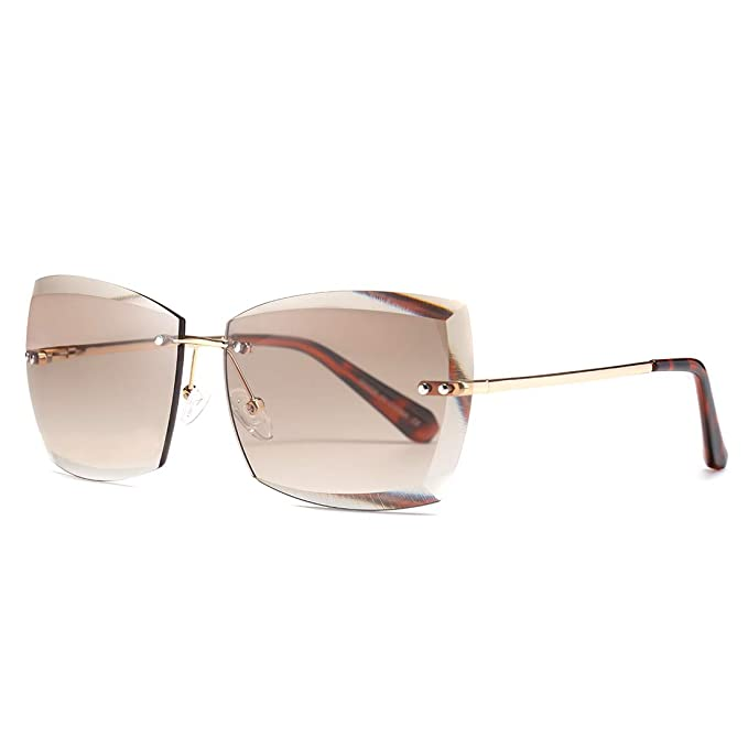 AEVOGUE Sunglasses For Women Oversized Rimless Diamond Cutting Lens Sun Glasses AE0534