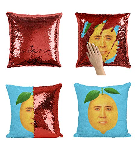 Lemon Nicolas Cage Face P113 Sequin Pillow, Sequin Pillowcase, Funny Pillow, Two color pillow, Present Pillow, Gift for her, Gift for him, Magic Pillow, Mermaid Pillow [With Insert] ()