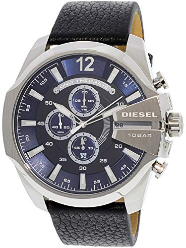 Diesel Men's Mega Chief Quartz Stainless Steel and Leather Chronograph Watch, Color: Silver-Tone, Black (Model: DZ4423) -