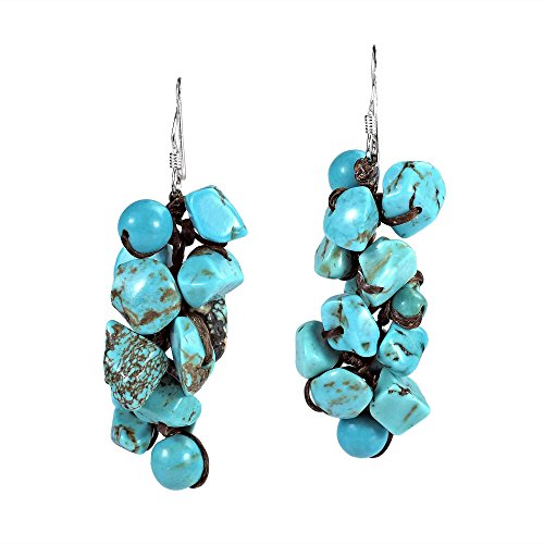 Cluster Simulated Turquoise Drop Sterling Silver Dangle Earrings by AeraVida (Image #6)