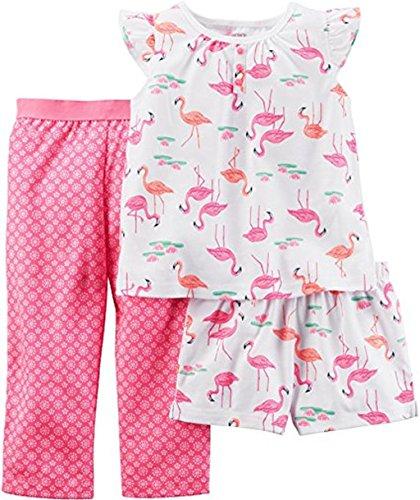Carters Super Comfy 3 Piece (Carter's Girl's 4T 3-Piece FLAMINGO Polyester Pants, Shorts Pajama Set)