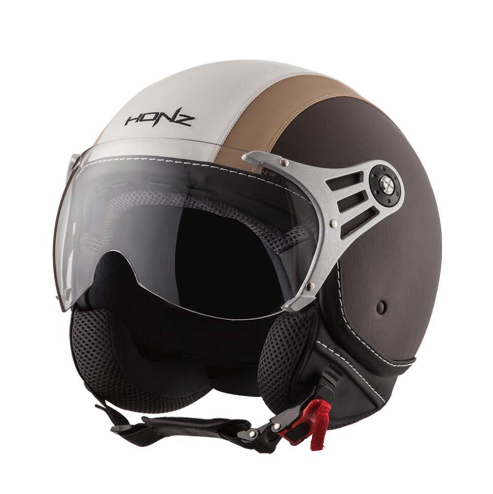Motorradhelm Scooter Motorrad Crash Flip Up Half Face Helm M L XL XXL Matte Schwarz, Weiß