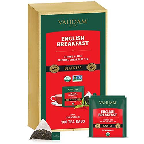 Desayuno Ingles Te Negro (100 Bolsitas De Te) | ALTA ENERGIA Y CAFEINA - Reemplazo de cafe saludable | Bolsas de te negras fuertes, robustas y con sabor | ANTIOXIDANTES RICOS
