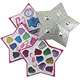 Petite Girls Silver Star Shaped Cosmetics Play Set - Fashion Makeup Kit for Kids