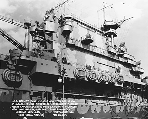 (Home Comforts Laminated Poster Close-up of Starboard Side of The Island of The U.S. Navy Aircraft Carrier USS Hornet (CV-8) at Norf Vivid Imagery Poster Print 24 x 36)