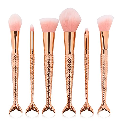 6pcs Pro Cosmetic Brushes Sets(Gold) - 1