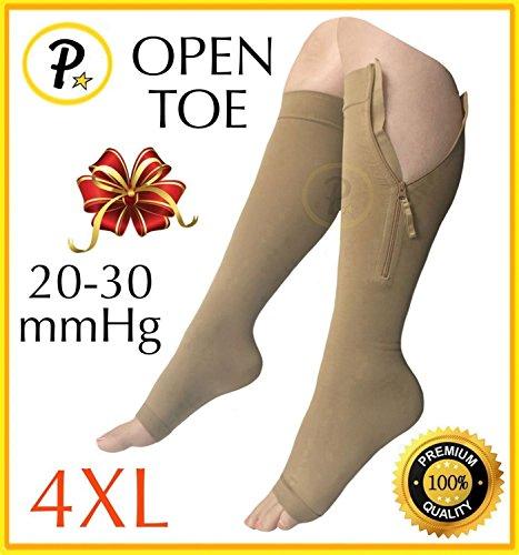 Presadee Premium Open Toe Big Tall Super Size 20-30 mmHg Zipper Compression Swelling Leg Circulation Socks (Beige, 4XL)