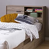 South Shore Fynn 39'' Headboard with Storage, Twin, Rustik Oak