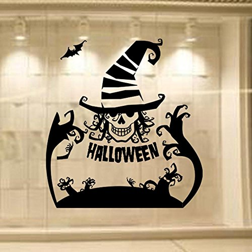 BIBITIME Sayings Halloween Quotes Ghost Tree Clown Skull Wall Decal Bat Vinyl Sticker for Shop Showcase Store Display Window Living Room Kids Room PVC Art Decor]()