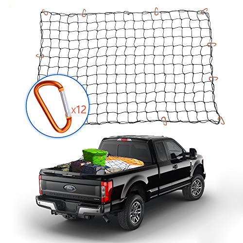 Tchipie 4x6 Ft Bungee Cargo Net for Pickup Truck Bed, Heavy Duty Cargo Netting with 12 Aluminium Alloy Carabiners, Stretches to 8x12 Ft, Small 4x4 Inch Mesh, for Toyota Tacoma Trailer Etc. (Truck Bed Net Cover)