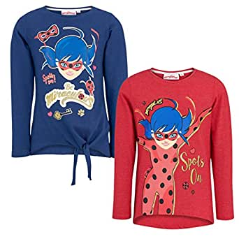 Miraculous Ladybug Pack of 2 Glitter Girls T-Shirt Long Sleeve Official Product (Blue and red, 4 Years 104cm)