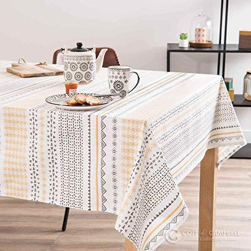 Coit & Campbell Premium 100% Cotton Printed Tablecloth, Ideal for Grand Events and Regular Home Use, Machine Washable (54