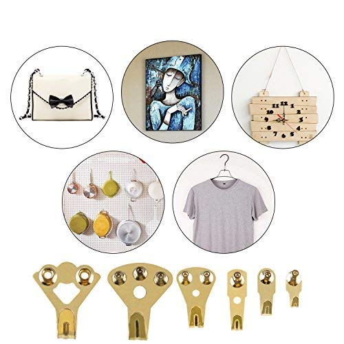 Kictero Picture Hangers, 30 Pieces Picture Hooks Frame Hanger, Photo Frame Mount Holder, Picture Hanging Kit with Nails for Wall Mounting, Holds 10-100 lbs by Kictero (Image #2)