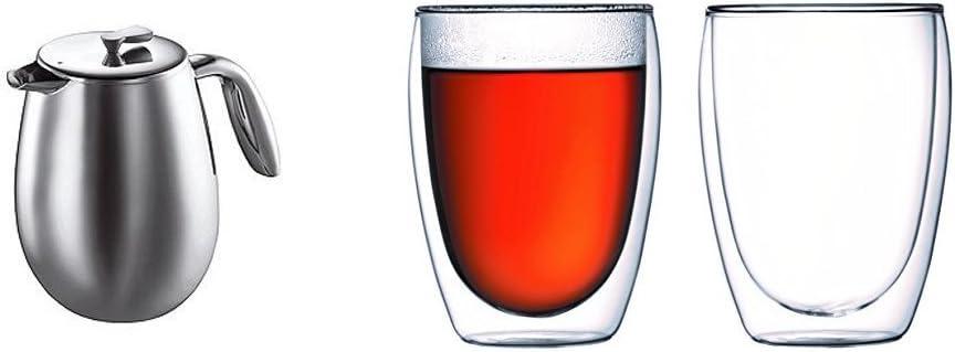 Set de 2 verres Pavina 35 cl Bodum 1312-16 Columbia Cafeti/ère /à Piston Double Paroi 12 Tasses 1,5 L Inox Brillant