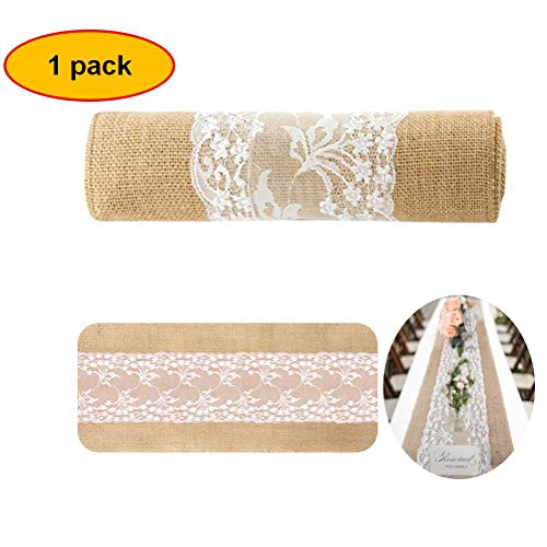 Burlap Lace Table Runner for Weddings 12X108 Hessian Rustic Jute Country Thanksgiving Christmas Baby Party Decoration Table Decor -