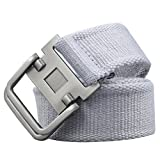 Xhtang Men's Fashion D-Ring Buckle Sturdy Canvas belt Waistband GRAY