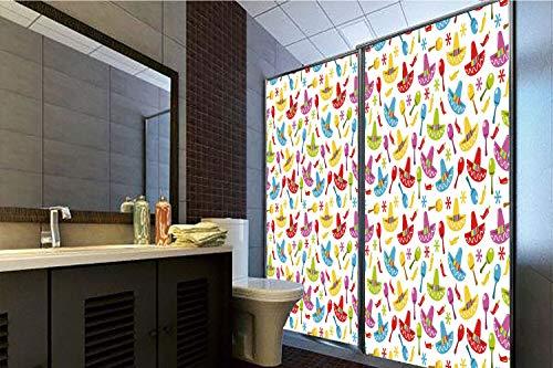 Horrisophie dodo 3D Privacy Window Film No Glue,Fiesta,Abstract Sombrero and Maracas Pattern Geometric Star Design Colorful Illustration Decorative,Multicolor,70.86