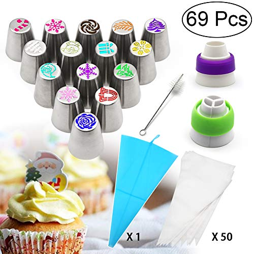 Russian Piping Tips Set, ZALALOVA 69Pcs Cakes Cupcakes Decorating 15Pcs Christmas Design Festival Icing Nozzles 50Pcs Baking Pastry Bags 1 Silicone Bag 2 Couplers 1 Cleaning Brush for Baking Supplies