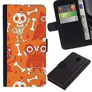 Billetera de Cuero Caso Titular de la tarjeta Carcasa Funda para Samsung Galaxy Note 3 III N9000 N9002 N9005 / Scull Skeleton Happy Halloween / STRONG