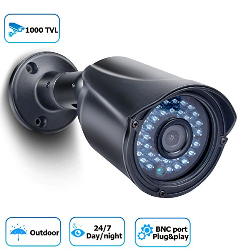 Security Camera 1000TVL Bullet Security Camera Analog CCTV Camera Day/Night Vision Outdoor Camera for Home (High Resolution Wall Mount)
