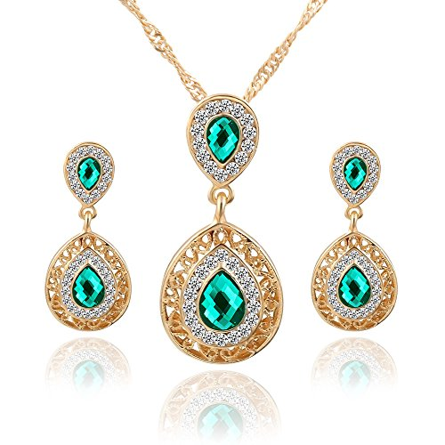 ! Necklace and Earrings Jewelry Set Womens Bohemia Color Rhinestone Simulated Diamond Necklace Earrings Jewelry Gift (Green) ()