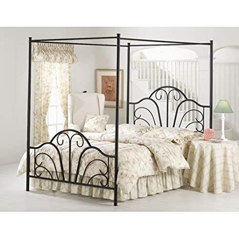 Hillsdale Furniture 348BQP Dover Bed Set With Canopy And Legs Queen Textured Black