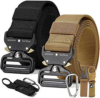 QINGYUN RONGQI 2 Pack Tactical Belt,Military Style Quick Release Belt,1.5 Nylon Riggers Belts for Men,Heavy-Duty Quick-Release Metal Buckle