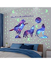 XiYee Muursticker, fluorescerend, sterrenhemel & wolf, wandsticker, lichtgevende sticker, wanddecoratie, cadeau voor kinderkamer, kleuterschool, baby, slaapkamer, woonkamer