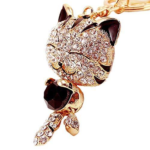 JewelBeauty Cute Kitten Sparkling Keychain Blingbling Black Crystal Rhinestone Gold Handbag Charm for Cat Animal Lovers Diamond Kitty Key Ring/Chain Holder Purse Car Hanging Pendant Decoration ()