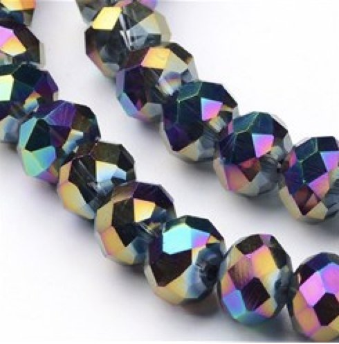 AMZ BEADS - Metallic 8mm x 6mm Faceted Glass Beads - 72pcs Strand (Metallic (Gorgeous Glass Strand Necklace)