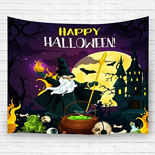 Halloween Horror Nights Event Icons (Wall Hanging Tapestry Decor Halloween Horror Night For October Holiday Celebration Template Evil Wizard Potion Cauldron Bedspread Beach Towels Picnic Mat Home Decor Bed Cover)