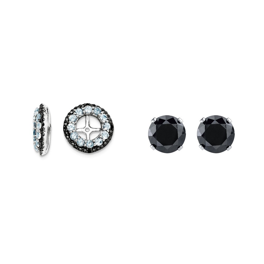 Sterling Silver Simulated Aquamarine, Black Simulated Sapphire Earring Jacket + 2mm Black CZ Studs