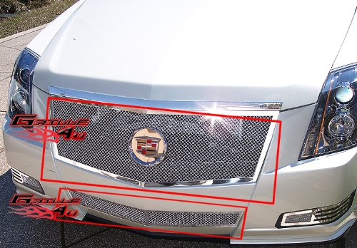 APS Fits 2008-2013 Cadillac CTS Stainless Steel Mesh Grille Grill Insert Combo # A77768T -