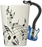 Moyishi Blue Electric Guitar Music Notes Holds Tea Coffee Milk Ceramic Mug 10.58oz In Gift Box Best Gift