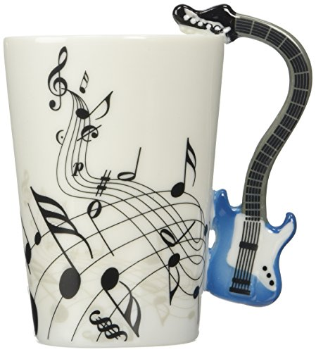 (Moyishi Blue Electric Guitar Music Notes Holds Tea Coffee Milk Ceramic Mug 10.58oz In Gift Box Best)