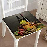crate and barrel footstools Mikihome Chair Pad Soft Seat Cushion Barrel Bottles and Glasses of Wine and Ripe Grapes On Wooden Table Decorative Expandable Polyethylene Stuffed Machine Washable 22